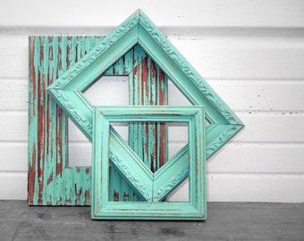 FRAME COLLECTION - Set of Three Little Rustic Aqua Mint Frames 4 x 6,  3 x 5,  4 x 4