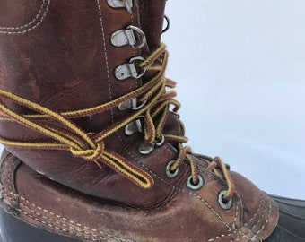 6166e5100194 80s Men 10 LL Bean Boots lace up mid calf hunting shoe Freeport Maine  classic dark brown rubber leather gortex waterproof winter lumberjack