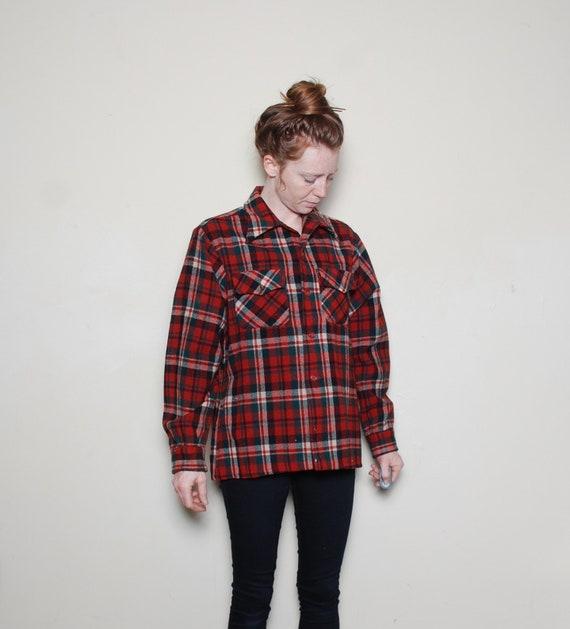 50s medium virgin wool plaid sport shirt long slee