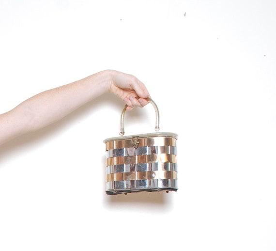 60s box purse lucite handle metallic top handle b… - image 1