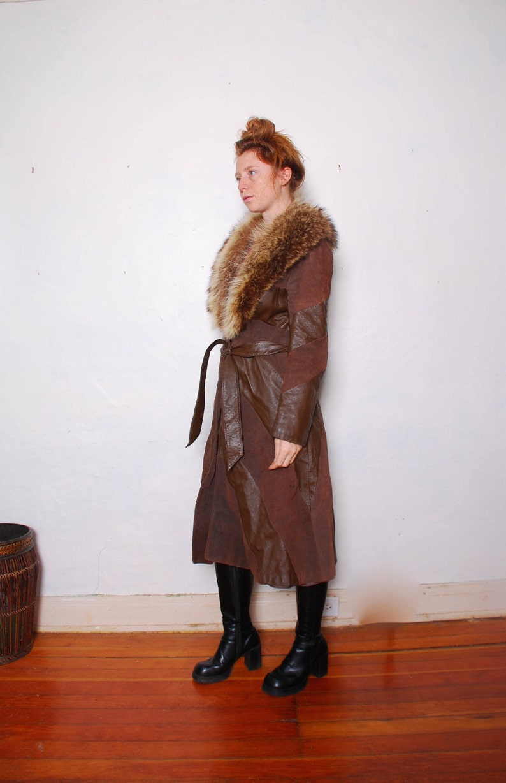 94a7abc6c28fb 70s medium leather and fur jacket winter coat womens vintage | Etsy