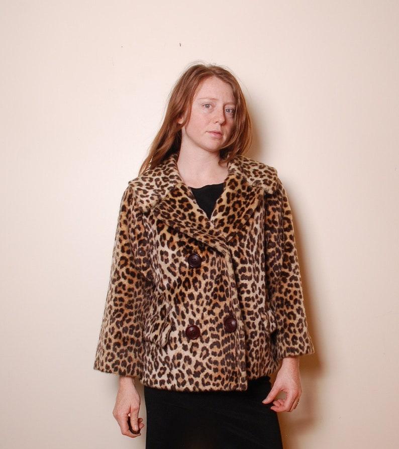 1a5e33c1b9ff 60s small medium faux fur leopard print peacoat womens vintage | Etsy