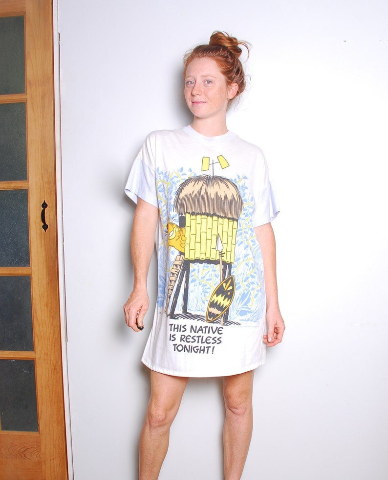 792c3a0150 80s large Garfield the cat nightgown sleep tee ringer white
