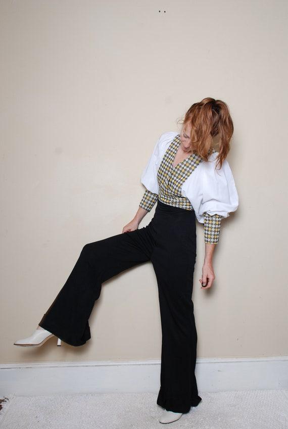 70s small medium long sleeve pantsuit belted v ne… - image 3