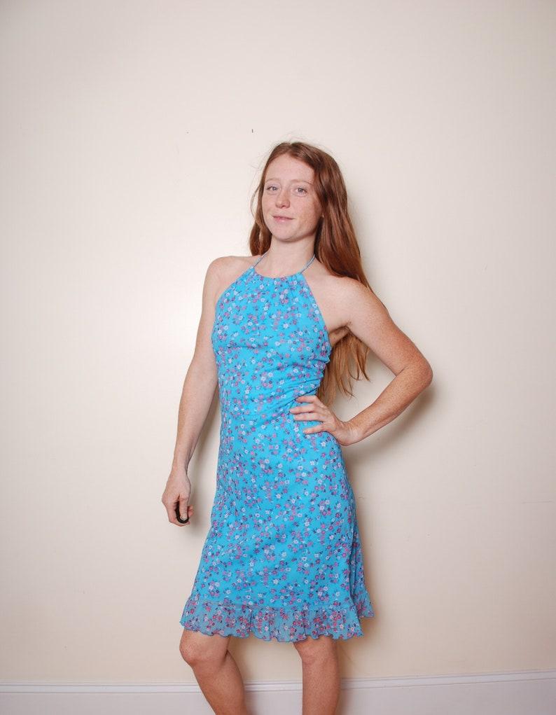 d04e7ed8765 90s small blue flower sundress halter top pink ruffle summer
