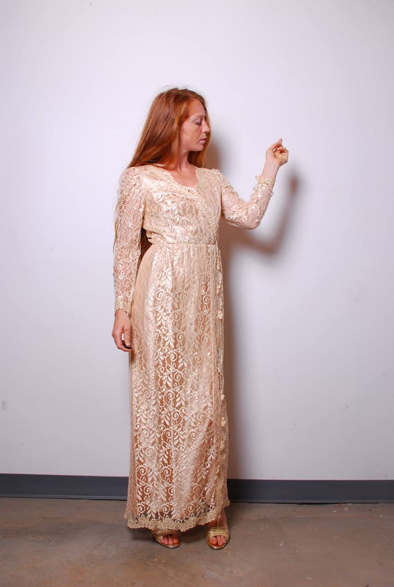 90s Medium Rose Gold Lace Wedding Dress Womens Gown Vintage Etsy