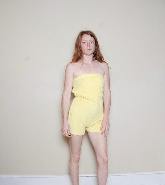 80s medium yellow terrycloth romper playsuit women