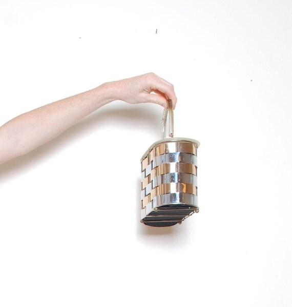 60s box purse lucite handle metallic top handle b… - image 2
