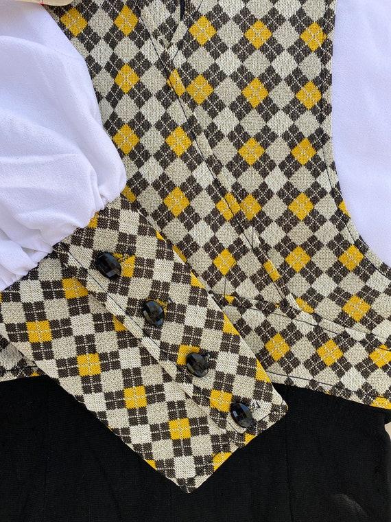 70s small medium long sleeve pantsuit belted v ne… - image 8