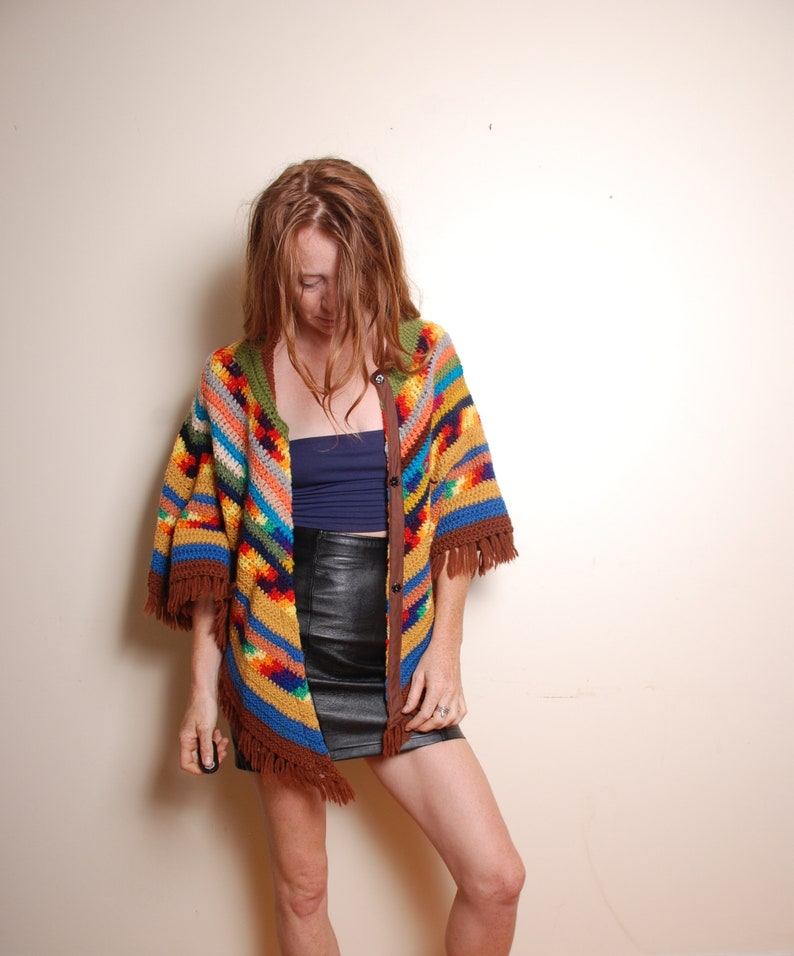 70s knit poncho fits all womens rainbow hippie boho jacket coat brown blue yellow shawl festival holiday winter coverup fringe statement