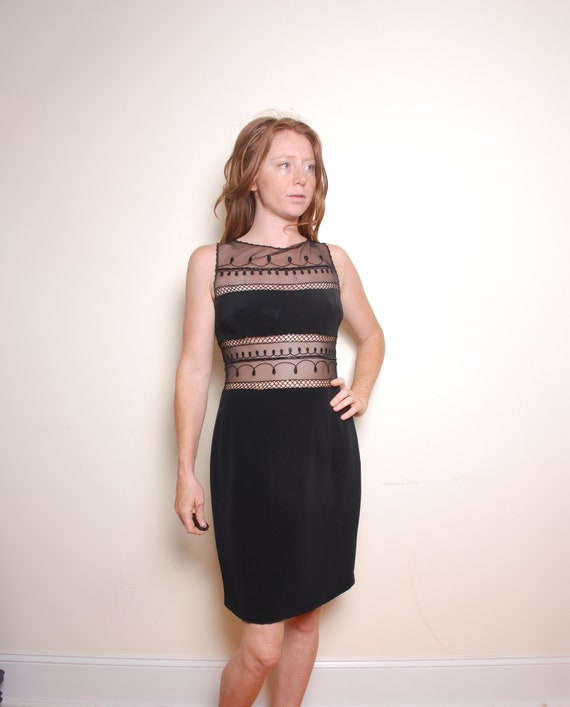 90s medium 8 Cache black lace party dress knee len