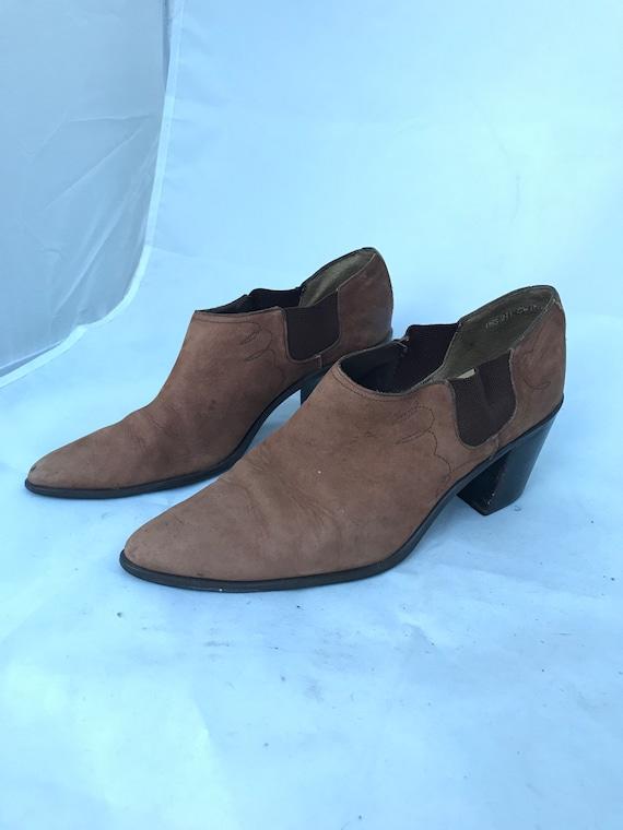 80er Jahre Dan Post Herren 9 Leder Cowboy Stiefel Ranch westlichen Arbeit Boot dunkel braun schwarz Rock'n'Roll Vintage Kleidung Spitz Zehen Schuhe