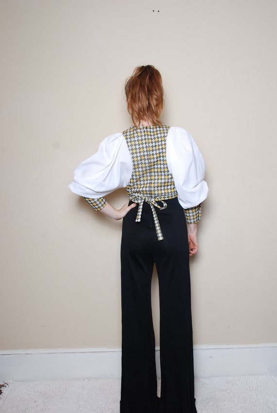 70s small medium long sleeve pantsuit belted v ne… - image 6