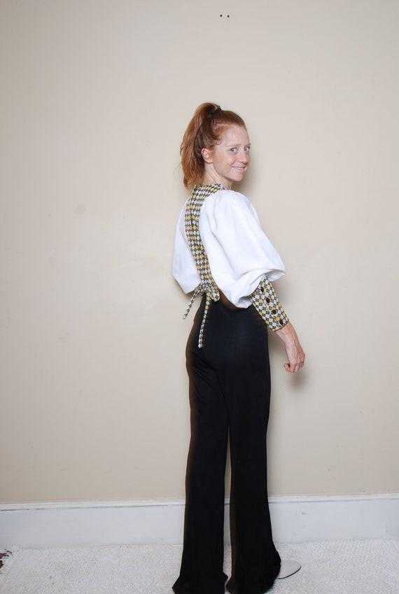 70s small medium long sleeve pantsuit belted v ne… - image 5
