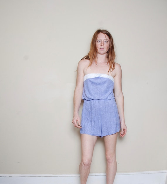 80s large terrycloth romper purple white band jump