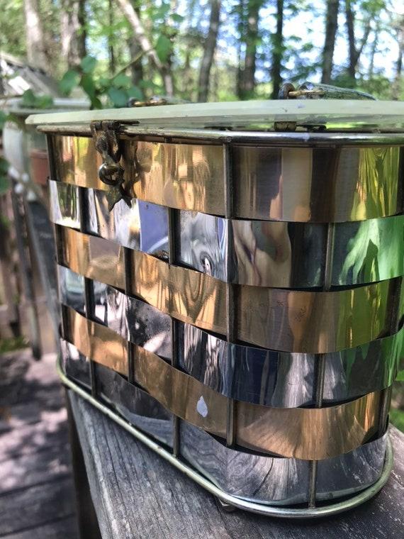 60s box purse lucite handle metallic top handle b… - image 5