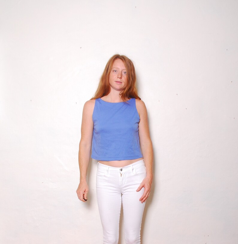 e7dc6a80512 90s large hang ten periwinkle blue crop tank top womens   Etsy