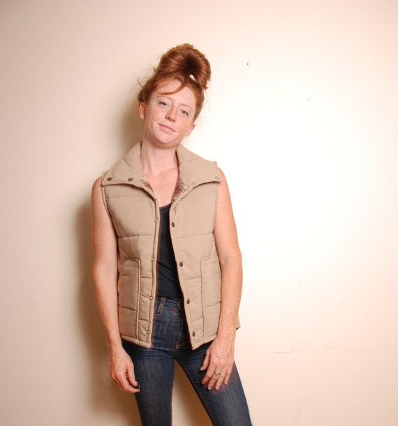 80s  medium tan puffer vest mens blanket lined pla