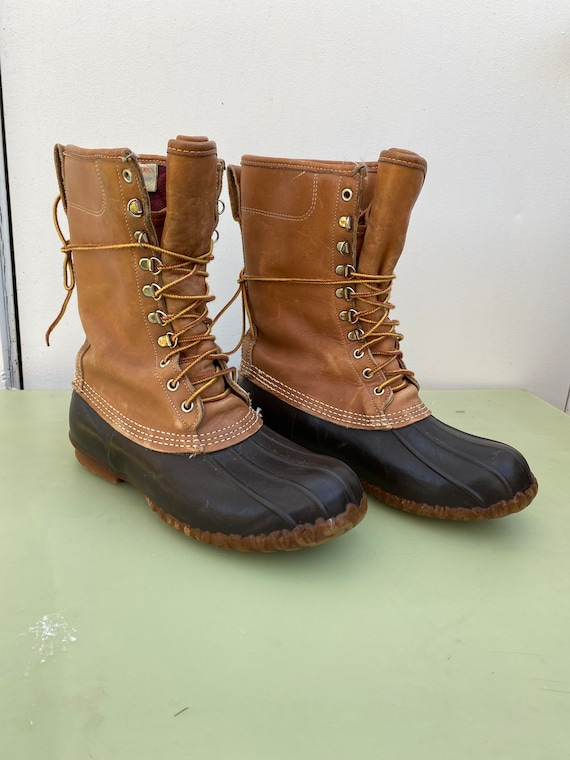 80s mens 9 Maine Hunting Boot leather lace up tall