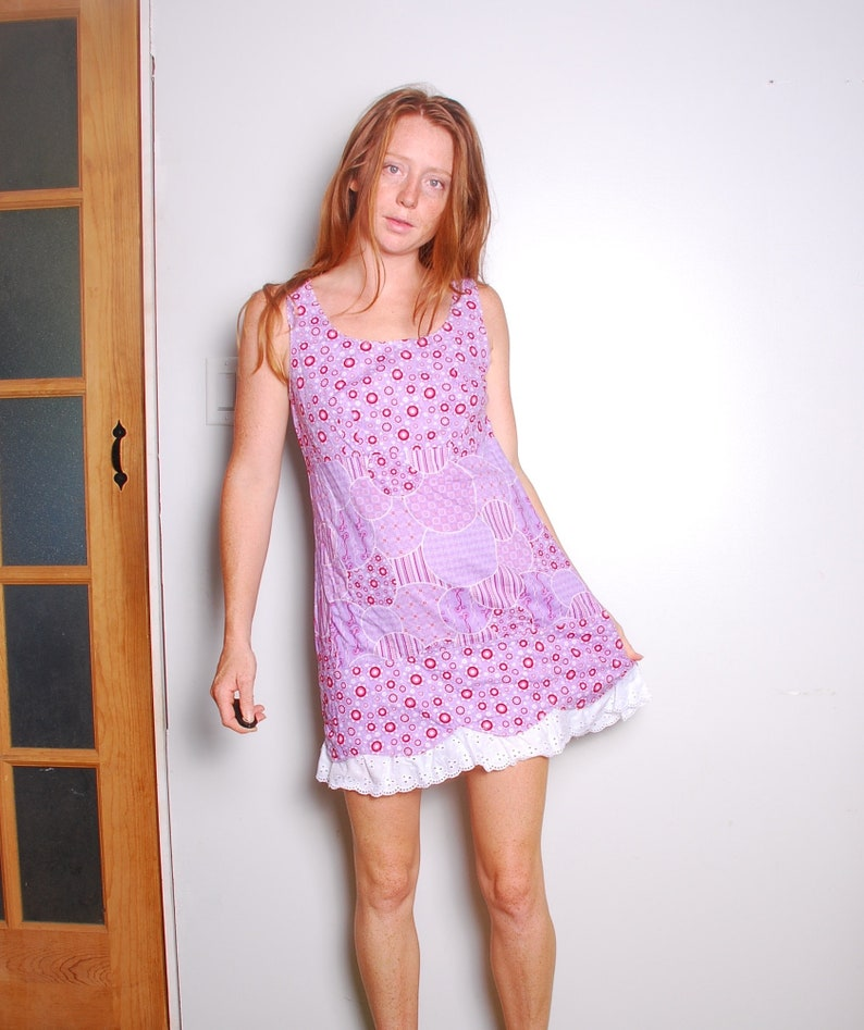 e10e02cc791 90s large purple hippie mini dress sleeveless white lace