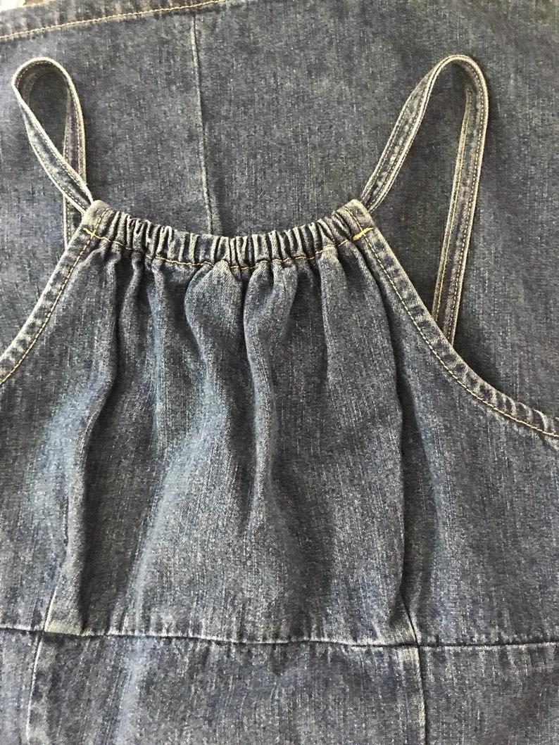 293923c1df7 90s medium blue jean denim mini dress empire waist fitted