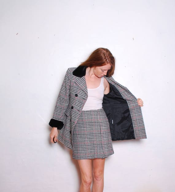 90s small 4 winter mini skirt suit womens plaid fu