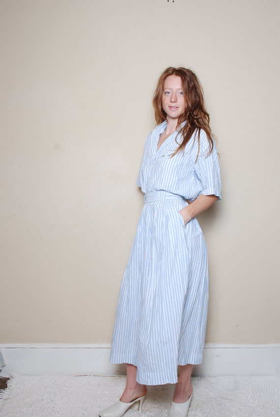 80s small two piece skirt set blue white striped G