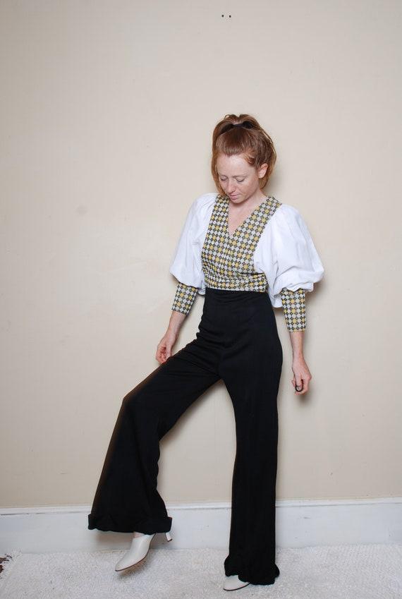70s small medium long sleeve pantsuit belted v ne… - image 4