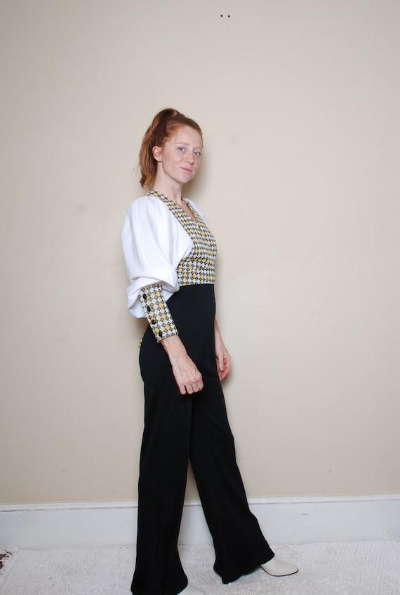 70s small medium long sleeve pantsuit belted v ne… - image 1