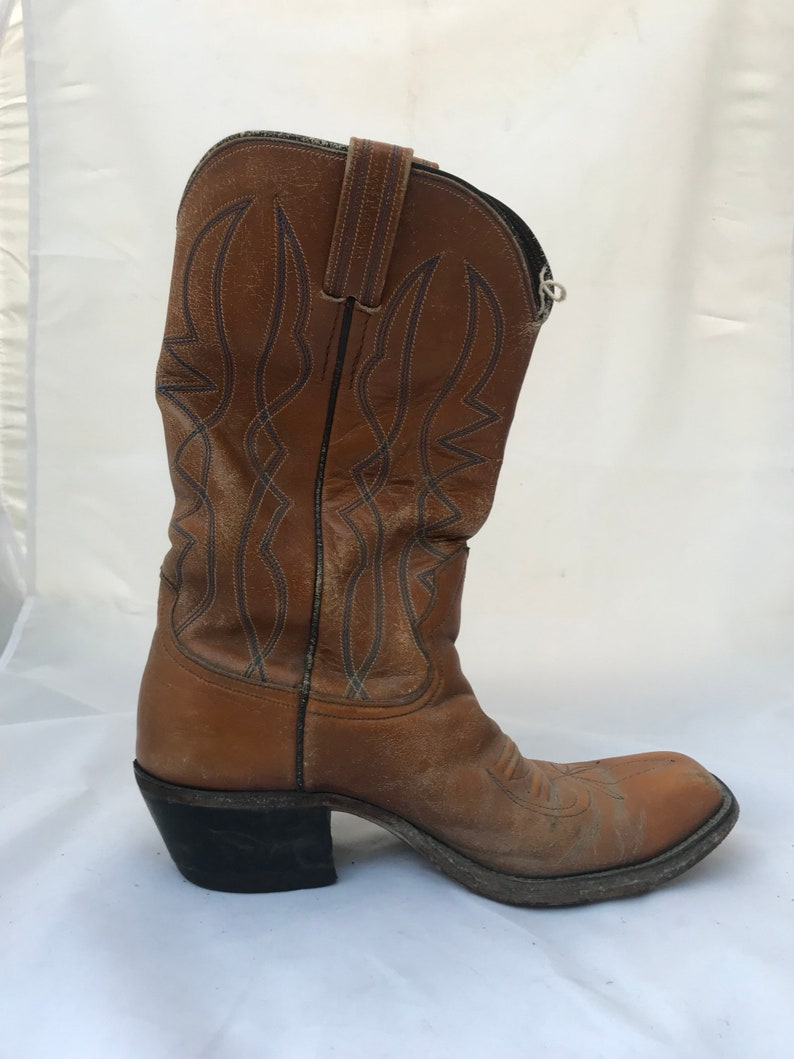 d4e60423062 80s size 10 square toe brown leather cowboy boots mens vintage shoes light  brown heeled dress boot country western ranch wear boho rocker