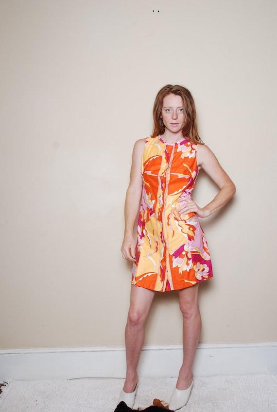 60s small Pucci skort mini dress pink orange paisl