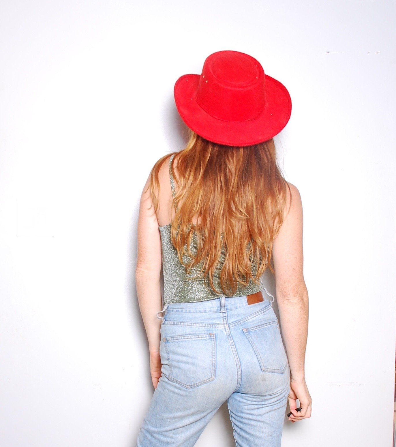 80s Large Red cowboy hat western express 7.5 60 mexico womens 9122325bde2