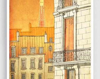 Paris illustration - Paris windows - Art illustration Prints Posters Architectural drawing Paris decor Wall art Travel poster Home decor