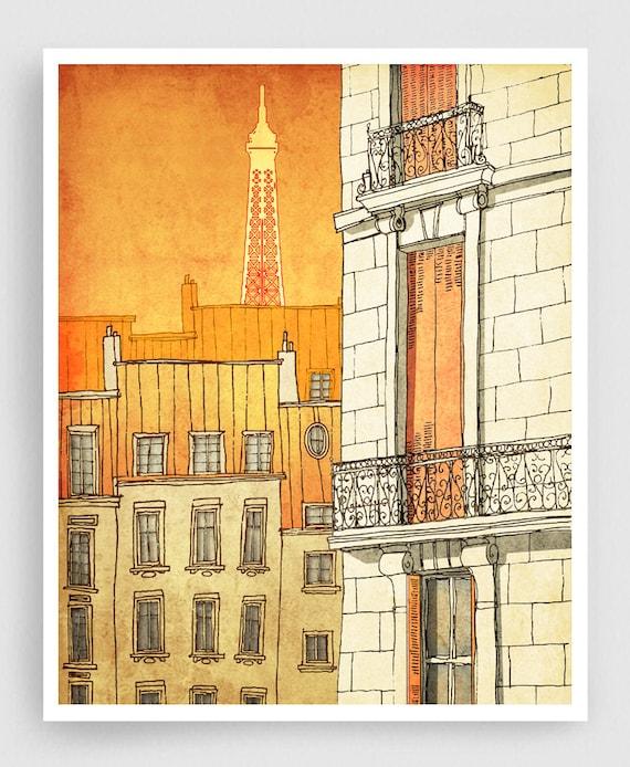 Illustrazione di parigi parigi windows arredamento arte etsy for Poster arredo casa