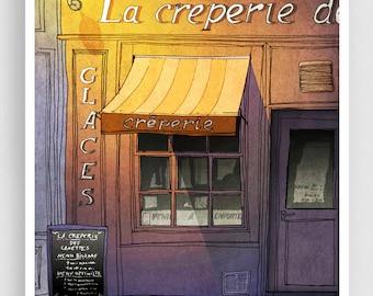 Paris Art Print - Closing Time (purple) - Paris Cafe Illustration Print Paris decor Home decor Nursery art Kids wall art Purple Paris Poster