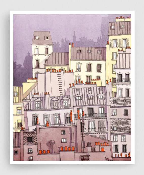 Paris Montmartre Purple Paris Illustration Drawing Art Prints Posters Home Decor Wall Decor Gift Ideas For Her Modern Living Room Decor