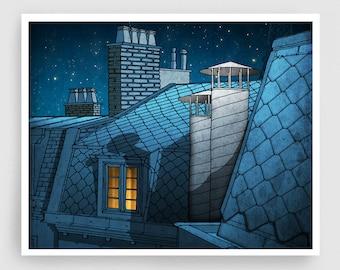 Paris Art Print - Dreaming a dream (landscape) - Paris Rooftops Print Illustration Home decor Nursery art Kids wall art Paris Poster Blue