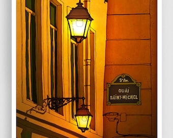 Paris illustration - Quai Saint Michel (yellow version) - Art illustration Prints Posters Architectural drawing Travel poster Home decor