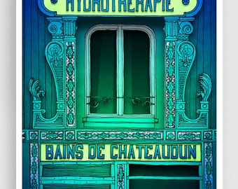 Hydrotherapie - Paris illustration Fine Art illustration Giclee art print Poster Paris windows Home decor Wall decor Green Turquoise Blue