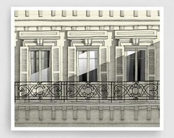 Paris balcony - Paris illustration Art Home decor Wall decor Wall art Print Poster Drawing Modern Architectural drawing Grey Facade Windows
