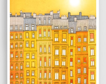 Yellow facade - Paris illustration Art Print Poster Home decor Wall decor Gift ideas for her Modern Living room decor Paris houses Cityscape