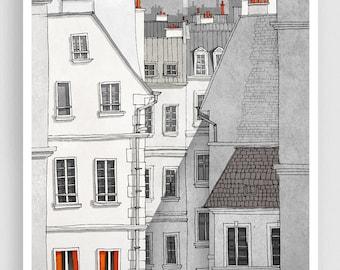 Paris illustration - Rue Sainte Croix - Illustration Giclee Fine Art Print Paris Prints Posters Home Decor Architectural Drawing Grey Facade