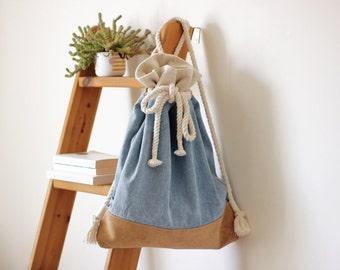 Stone Washed Denim + Cork Leather Backpack With Cotton Rope straps / Denim Backpack / Cork Backpack / Vegan Leather Bag / Vegan backpack