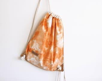 Orange shibori Drawstring Backpack - Drawstring bag -Tie dye rucksack - Day bag - beach bag - travel bag - vegan bag - drawstring backpack