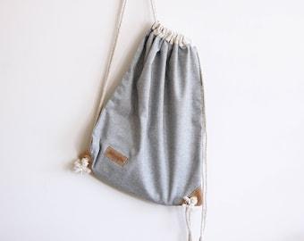 Chambray Denim Drawstring Backpack - Rucksack - Day Bag - Summer Bag