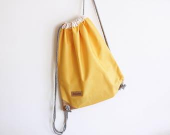 Summer Yellow Drawstring Backpack - Rucksack - Yellow backpack - Summer backpack - cork bag - beach bag - canvas backpack - travel bag