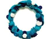 Winter Blue Wreath Turquoise Wool Wreath Teal Navy Sweater Wreath Winter Front Door Wreath