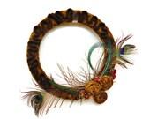 Amber Wool Peacock Feather Wreath Felted Wool Wreath in Earthtones