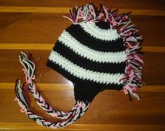 Zebra hat with pink mohawk
