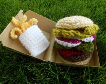 Crochet Burger and Fries
